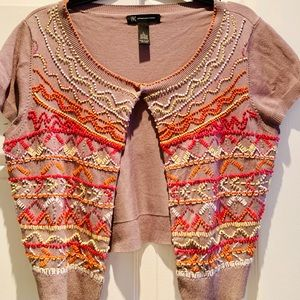 Ladies one snap colored beaded sweater size large